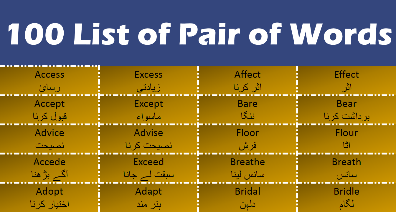 100 List Of important Pair Of Words With Urdu And Hindi Meanings