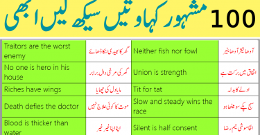 100 Most Famous English to Urdu Proverbs