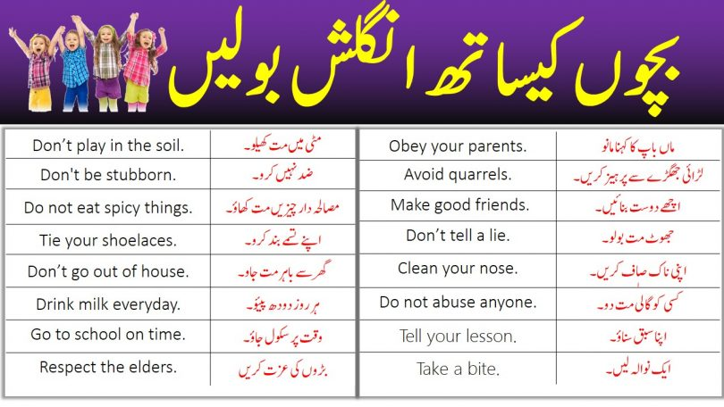 English Speaking Practice Sentences In Urdu to Speak with Kids
