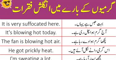 English Sentences for Summer in Urdu for English Speaking