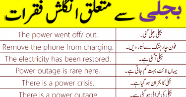 Daily Use English Sentences for Electricity in Urdu