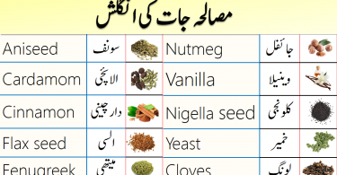 Spices and Herbs Names in English with Urdu Meanings
