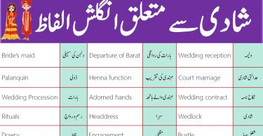 Daily Use English Vocabulary for Wedding in Urdu PDF