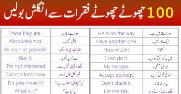 100 Daily Use Short English Sentences in Urdu