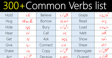 300+Common Verbs List with Urdu Meanings | Most Basic Verbs List