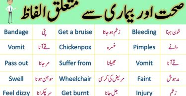 Daily Use English Vocabulary for Health and illness in Urdu