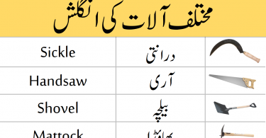 Weapons and Tools Vocabulary with Urdu Meanings