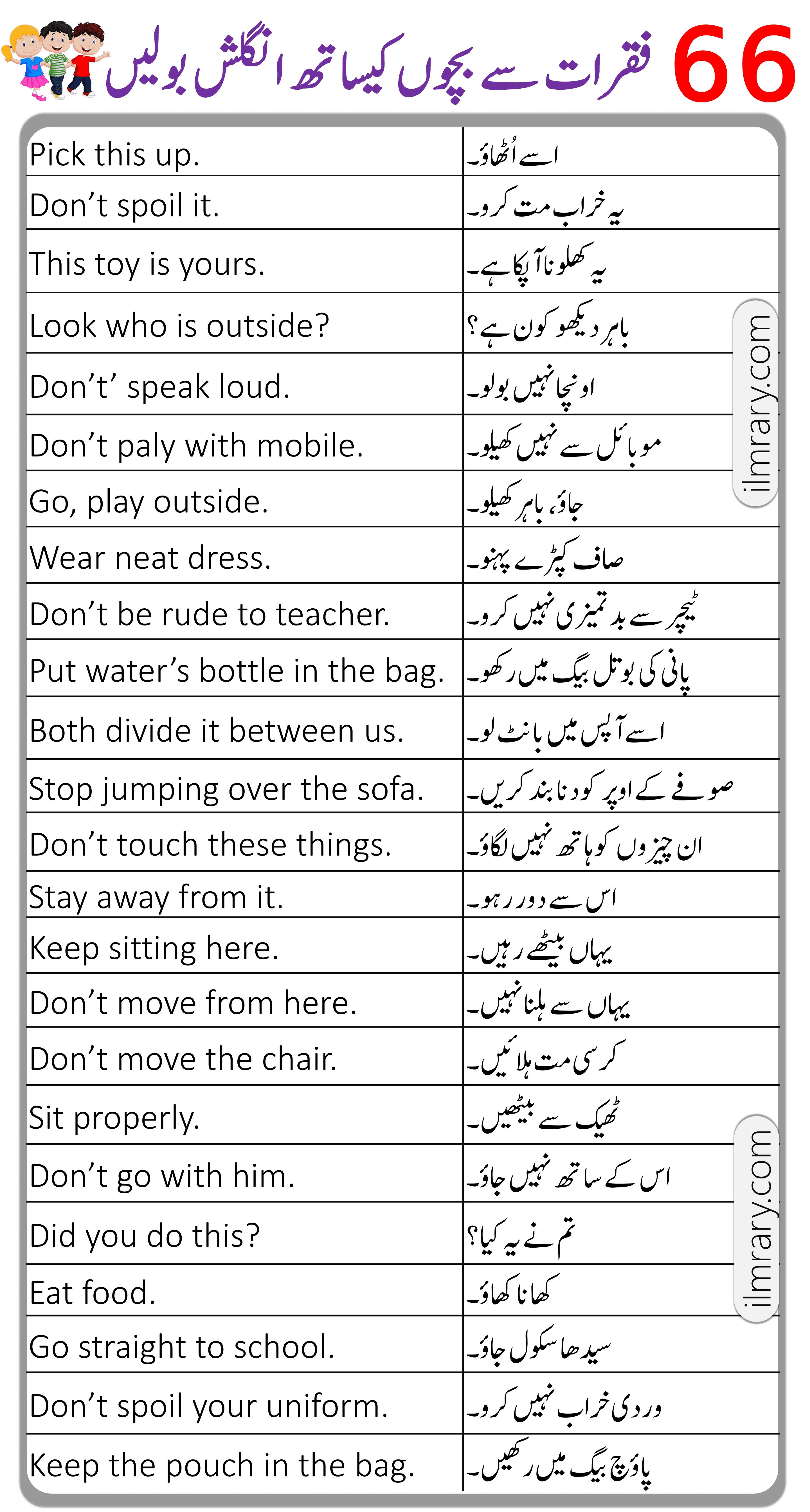 66 English Sentencess for Kids to Speak English with Urdu Translation