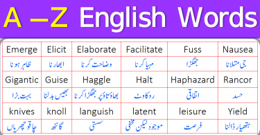 A to Z Vocabulary Words with Urdu Meanings PDF