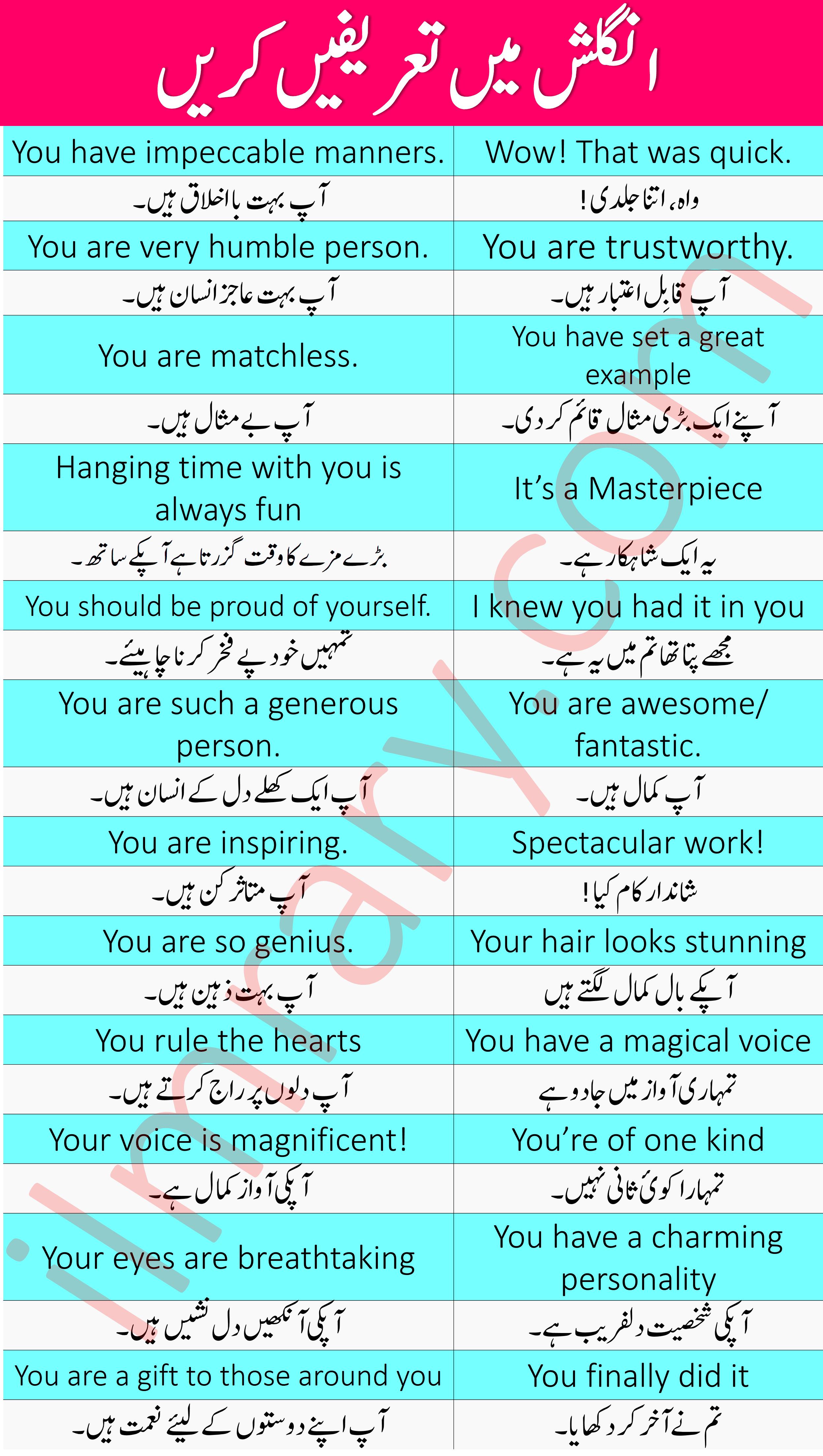 35 English Sentences for Praise in Urdu PDF