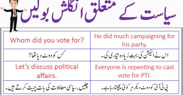 Politics Related Sentences in English With Urdu Translation