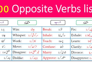 100 List of Opposite Verbs with Urdu Meanings