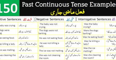 150 Example Sentences for Past Continuous Tense with Urdu Translation