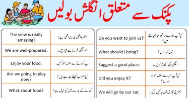 Picnic Sentences in English with Urdu Translation